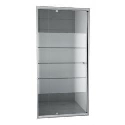 Banio-Gordos Flexibele draaideur, verchroomde aluminium profielen, 4mm helder glas, 4 matte stroken - 80-90x190cm