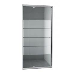 Banio-Gordos Flexibele draaideur met verchroomde aluminium profielen, 4mm helder glas, 4 matte stroken - 90-100x190cm