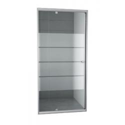 Banio-Gordos Flexibele draaideur met verchroomde aluminium profielen en 4mm helder glas met 4 matte stroken - 100-120x190cm