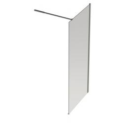 Banio Design Anna Paroi fixe avec verre transparent 6mm easy clean, barre stabilisatrice réglable 80-120cm