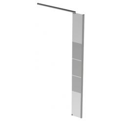 Banio Design Micha Paroi latérale avec verre transparent 8mm easy clean avec décor et profil d'angle en alu chromé - 30X200cm