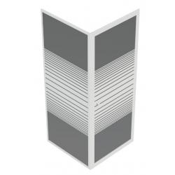 Banio Ingo porte pivotante avec paroi fixe, profils laqués blanc et 4mm verre transparent avec lignes blanches - 80x80x190cm