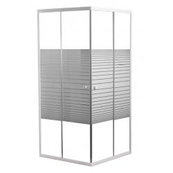 Banio Inga accès d'angle avec portes coulissantes, profils laqués blanc, 4mm verre transp avec lignes blanches - 80x80x190cm