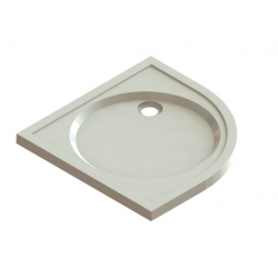 Banio Design Protos Douchebak kwartrond in solid surface Wit - 90x90x3,5cm
