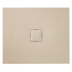 Banio Design Kryptos Douchebak in polybeton steenimitatie Crème - 90x90x3cm