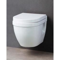WC suspendu compact Design Shaba Blanc Rimless avec Abattant soft-close et dé-clipsable Quick Release
