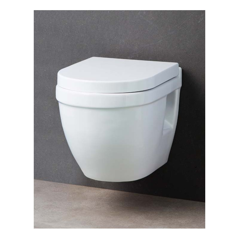 b580ed562f1b0b WC suspendu compact blanc. Céramique antibactérienne et traitement  anticalcaire. Abattant thermo-dur, amorti avec système de fermeture  SoftClose et Quick ...