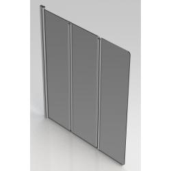 Banio Design Malia Paroi de bain 3 volets avec profils chromé - 130x140cm