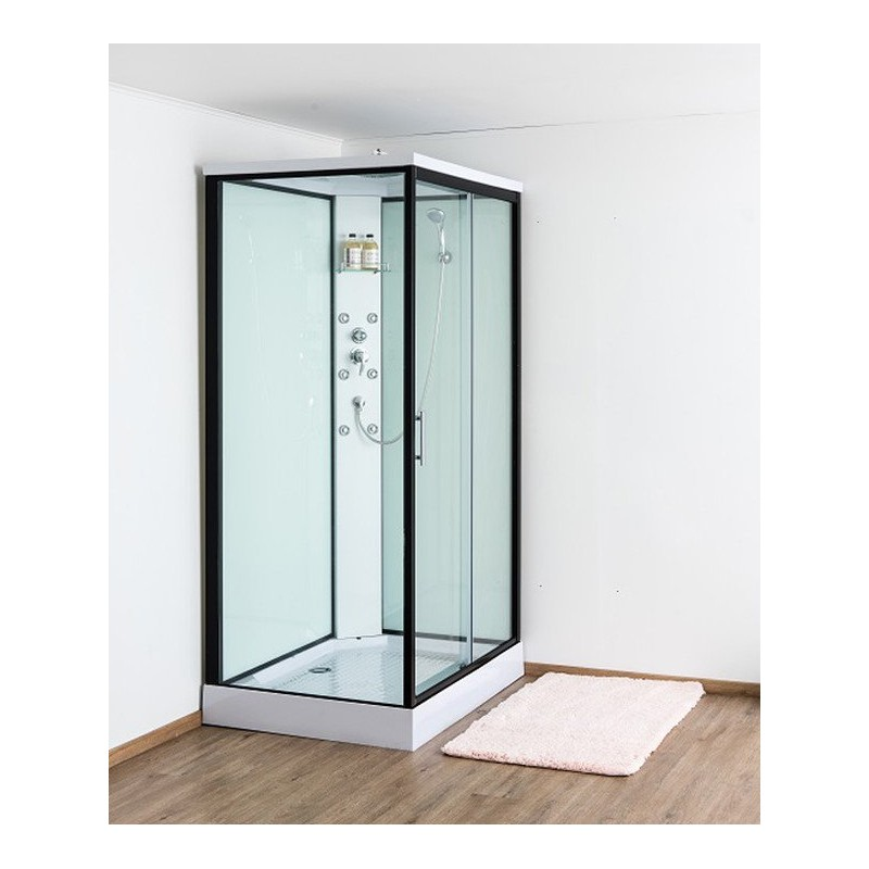 design anke cabine de douche droite 90x120 cm porte coulissante noir banio. Black Bedroom Furniture Sets. Home Design Ideas