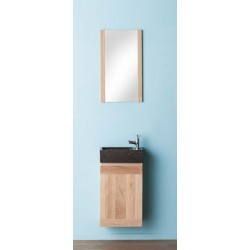 Wastafelmeubel Banio-Janko Wit met spiegel en wasbak - 60x38,8x21,7 cm