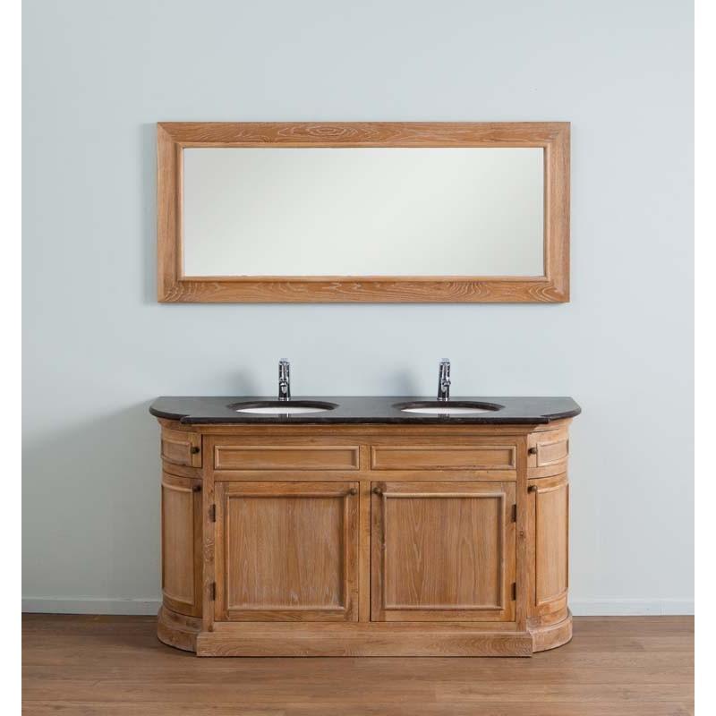 Banio Flamant Meuble De Salle De Bain Chêne Clair Avec Miroir   160x55x86cm