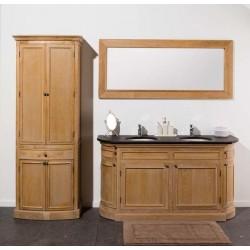 Banio-Flamant Badkamermeubel met spiegel en kolomkast - Licht eiken kleur 160x55x86cm