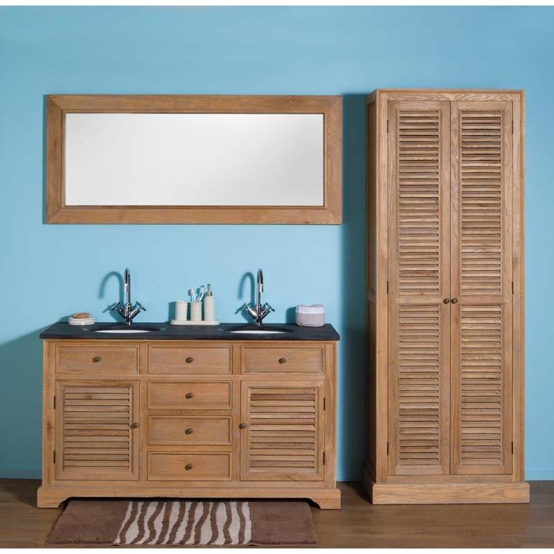 Meuble de salle de bain banio cottage avec grand miroir et colonne ch ne clair hauteur 86 - Grand meuble de salle de bain ...