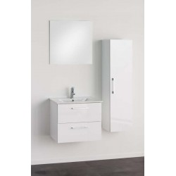 Meuble de salle de bain Banio-Dago avec miroir et colonne Blanc