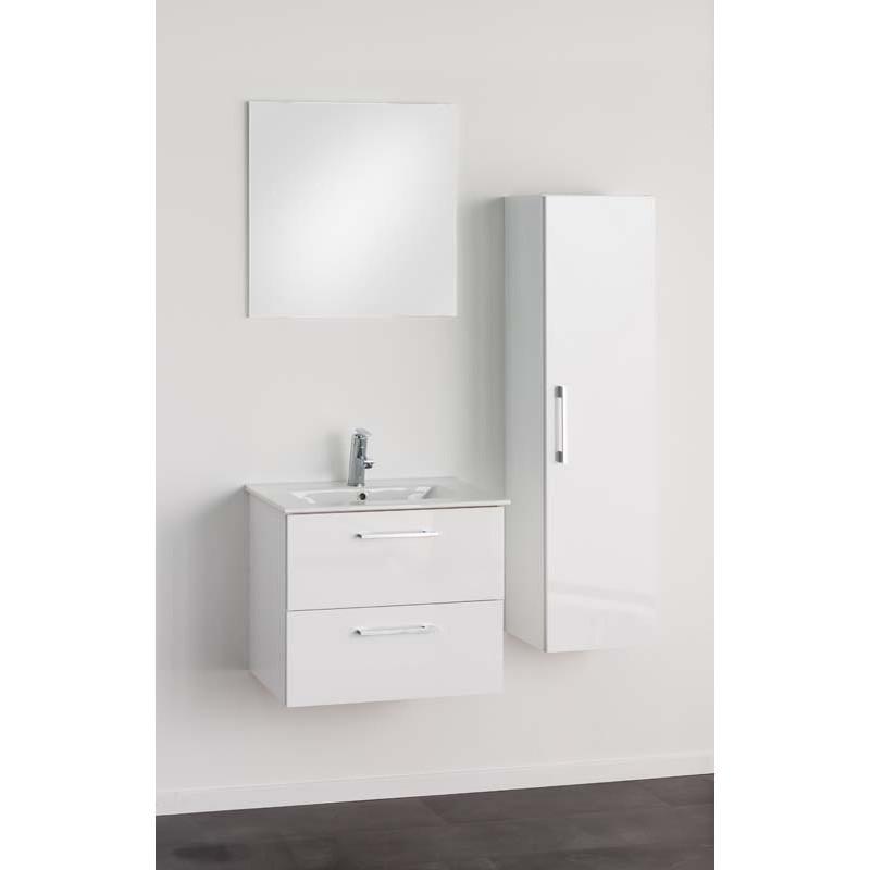 Meuble De Salle De Bain Banio Dago Avec Miroir Et Colonne Blanc
