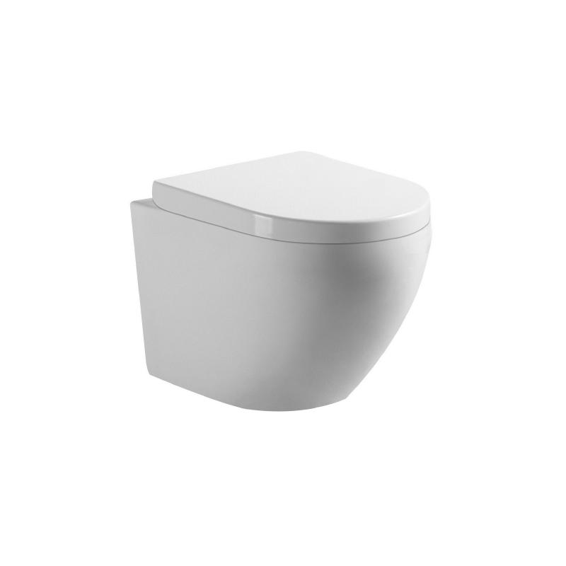 banio gary wc suspendu compact sans bride avec abattant. Black Bedroom Furniture Sets. Home Design Ideas