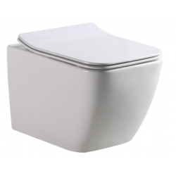 Banio-Gert WC suspendu compact avec abattant ultra fin easyrelease - Blanc