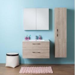 Meuble de salle de bain Banio-Dante Chêne look beton avec vasque Brillant - 55x90x51 cm