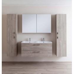 Badkamermeubel Banio-Dante Eiken-Betonlook met 2 Glanzende wastafels - 55x120x51 cm