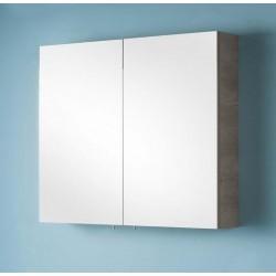 Miroir avec armoire pour meuble de salle de bain Banio-Dante Chêne look beton avec 2 portes - 67x90x15 cm