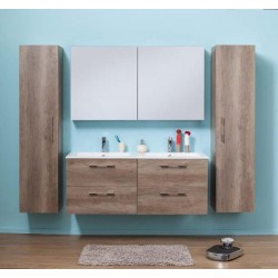Meuble de salle de bain Banio-Dante Nebraska avec 4 tiroirs et vasque mat - 55x140x51 cm