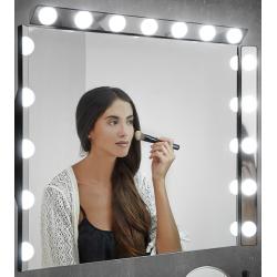 Badkamerverlichting led banio hollywood voor spiegel zwart for Badkamerverlichting spiegel