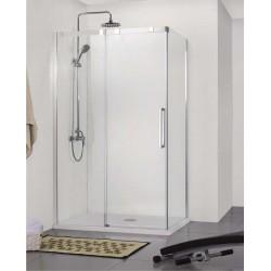 Porte de douche coulissante avec Paroi de douche Banio-Udo avec profils Chromé - 120x90cm