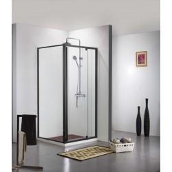 Porte de douche avec paroi de douche Banio-Urian Noir - 140x90 cm