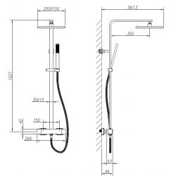 banio hifune colonne de douche noir mat thermostatique douche de pluie carr e. Black Bedroom Furniture Sets. Home Design Ideas