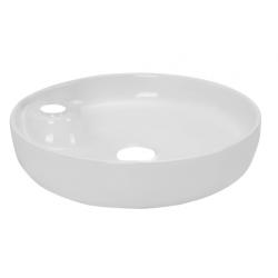 Vasque à poser Banio-Cupido rond en porcelaine avec trou du robinet - Blanc