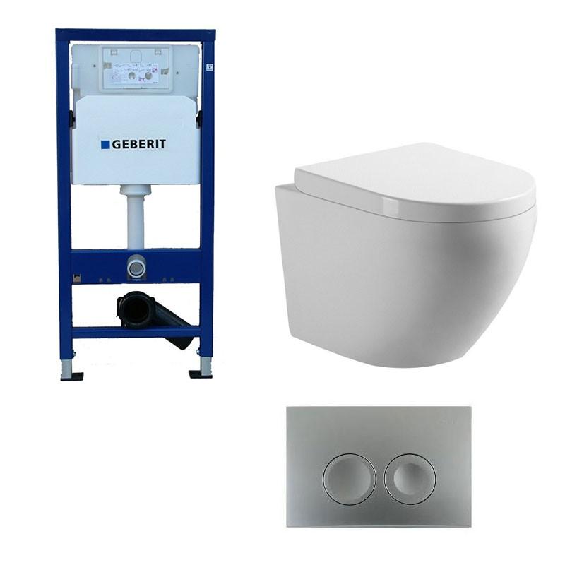 geberit pack wc suspendu blanc avec cuvette sans bride. Black Bedroom Furniture Sets. Home Design Ideas