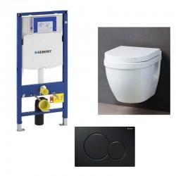 Geberit Sigma Pack WC suspendu avec cuvette soft-close et touche noir complet