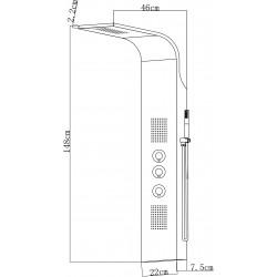 colonne de douche en noir avec cascade thermostatique avec hydrojet hc77913. Black Bedroom Furniture Sets. Home Design Ideas
