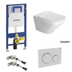 Geberit Duravit durastyle rimless et durafix pack WC suspendue avec set de fixation - Plaque de commande Blanc