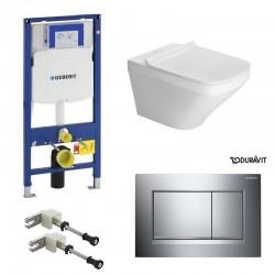 Geberit Duravit durastyle rimless et durafix pack WC suspendue avec set de fixation - Plaque de commande Chrome