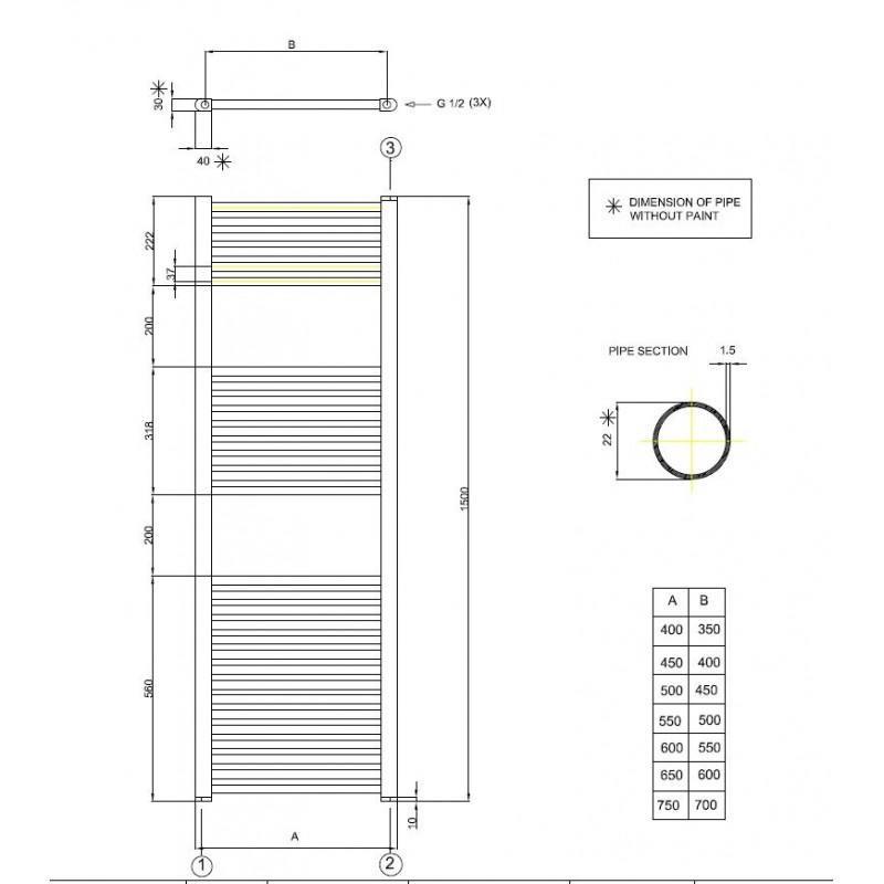 radiateur sches serviettes chauffage centrale ou lectrique thermostatique - Douche Italienne Dimension1752