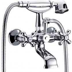 Ancona Robinet de bain/douche AVEC DOUCHETTE ET FLEXIBLE complet Chrome