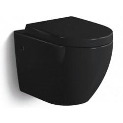 Banio-Gary Compacte Hang wc zonder spoelrand met softclose en easyrelease bril - Zwart glanzend