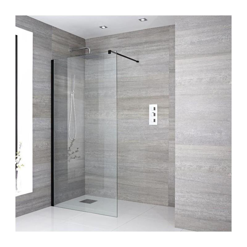 paroi de douche italienne de 120 cm vitrage de 8 mm noir banio. Black Bedroom Furniture Sets. Home Design Ideas