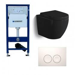 Geberit Pack wc suspendu noir brillant avec Geberit Duofix Delta et touche blanc Complet