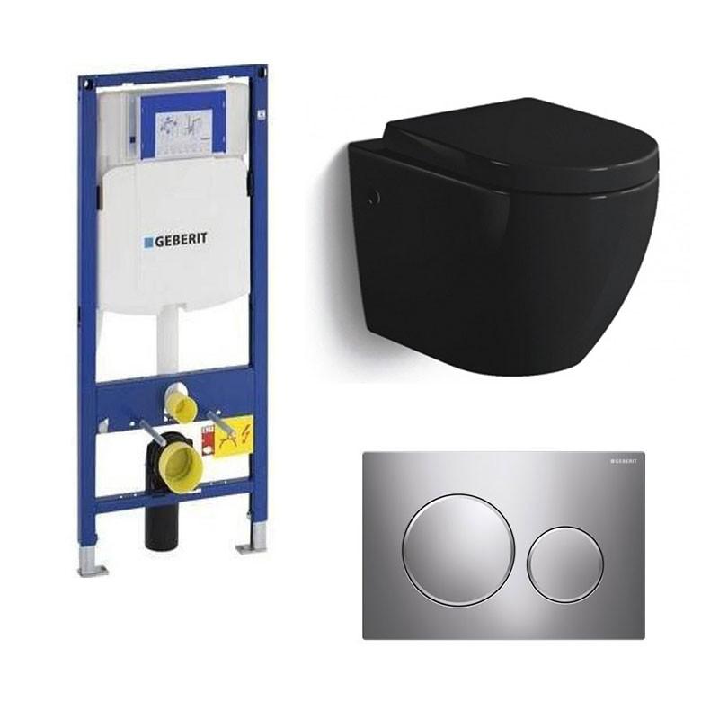 geberit pack wc suspendu banio gary noir brillant compact avec geberit duofix et abattant soft. Black Bedroom Furniture Sets. Home Design Ideas
