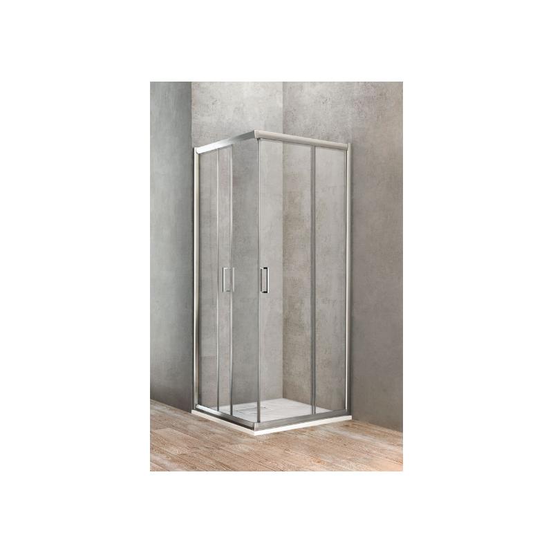 Ponsi paroi de douche carr avec porte coulissante 90x90 cm banio - Paroi de douche avec porte coulissante ...