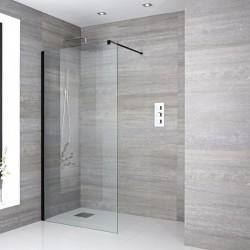 Paroi de douche italienne noir de 120x200 cm vitrage avec bande satinée 8 mm