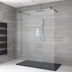 Paroi de douche Italienne Noir Walk-in de 120 x 200 cm