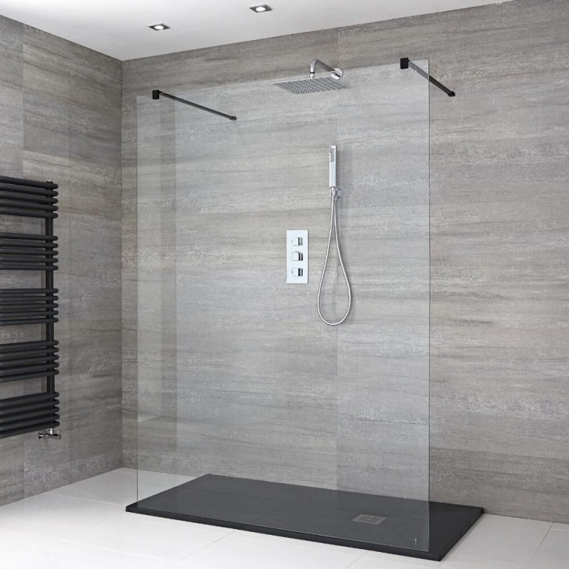 paroi de douche italienne de 120x200 cm noir banio salle de bain. Black Bedroom Furniture Sets. Home Design Ideas