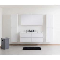 Meuble de salle de bain Madini blanc de 140 cm de large avec armoire miroir