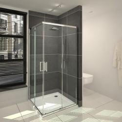 Banio-Belu Accès d'angle avec portes coulissantes, profils alu chromés, 6mm verre easy clean - Mesures 80x80x190cm