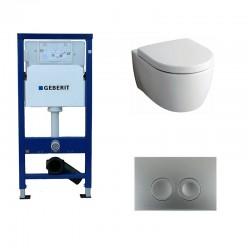 Geberit Delta Pack wc suspendu Keramag Icon blanc avec abattant softclose et touche chrome Delta21 Complet