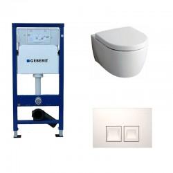 Geberit Delta Pack wc suspendu Keramag Icon blanc avec abattant softclose et touche blanche Delta50 Complet