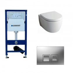 Geberit Delta Pack wc suspendu Keramag Icon blanc avec abattant softclose et touche chrome Delta50 Complet